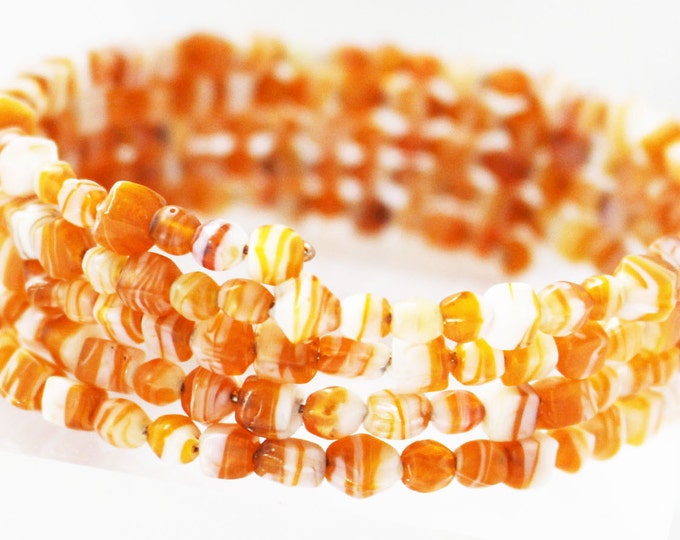Jewelry Set ~ Tangerine Orange Sea Mix Ensemble ~ Bracelet and Earrings ~ Beach Jewelry ~ Wrap Bracelet