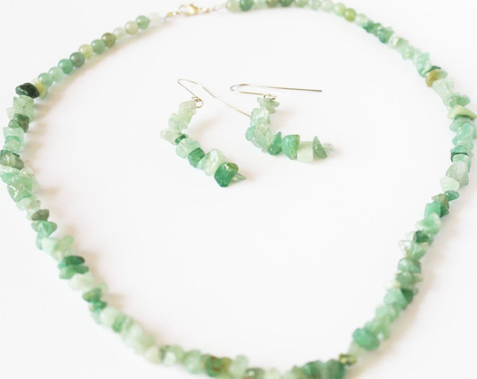 Jewelry Set ~ Peridot Gemstone Jewelry Set ~ Necklace and Earrings ~ Gifts For Her