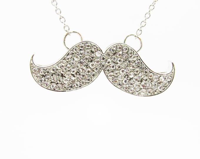 Bling Crystal Mustache  Long Necklace