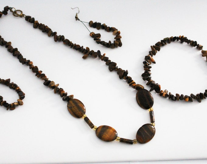 TIger Eye Crystal Stone Jewelry Set ~ Healing Crystals