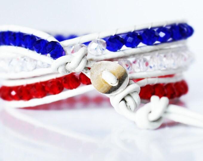 Patriotic American USA Leather Multi Wrap Bracelet July 4th Beaded Bracelet