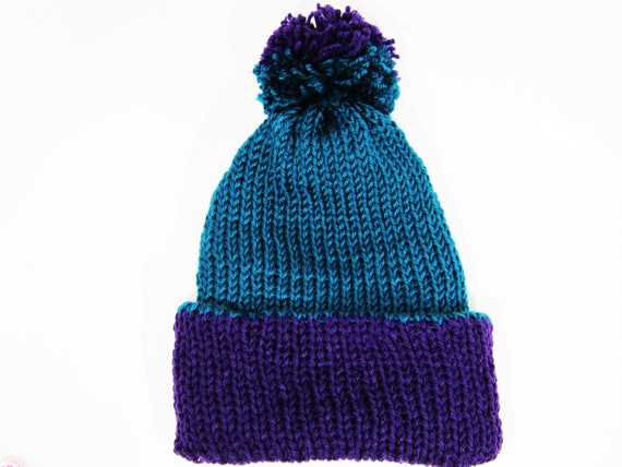 Two-Toned Beanie with Pom Purple and Teal