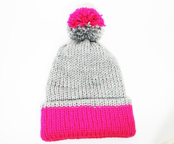 Two-Toned Beanie with Pom