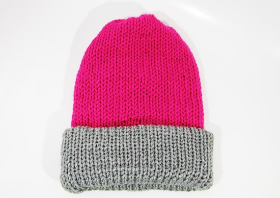 Two-Toned Beanie Hot Pink and Gray Reversible