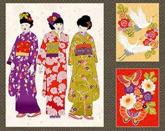 9 Block Design Asian Japanese Geisha Kimono Fabric Panel 24 X 44
