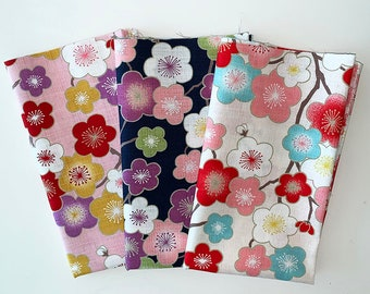 Quilting Fabric Fat Quarters Fabric Bundles Japanese Floral Patterns for DIY Sewing Patchwork Scrapbooking Crafts Bags Pillows 19.68 x 19.68 inch 100 Cotton Large Squares Fabric 5 PCS