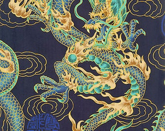 FIRE-BREATHING DRAGONS: Navy Blue Asian Japanese Fabric (By the Yard)