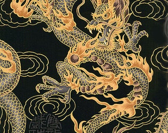 FIRE-BREATHING DRAGONS: Asian Japanese Fabric (By the Yard)