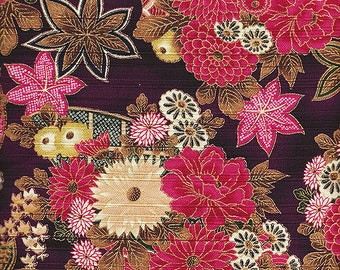 Beautiful Gilded Asian Blossoms:  Japanese Fabric in Purple - 100% Cotton Sateen Dobby (By the 1/2 Yard)