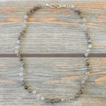 "18.5"" Shades of Grey, Gradient Grey Gemstone Necklace, Clear Quartz, Labradorite"