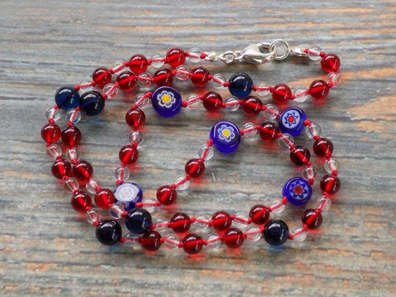 21 Red and Blue Amber with Clear Quartz and Blue image 0
