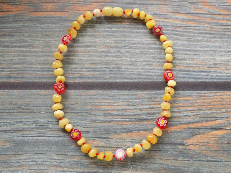 12.5 Baroque Butter Baltic Amber and Millefiori Necklace image 0