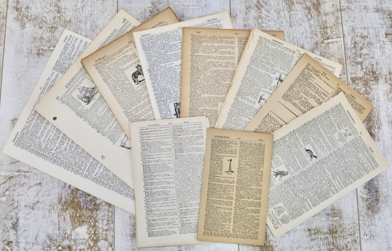 Vintage Dictionary Pages Ephemera Pack 100 various sheets image 0
