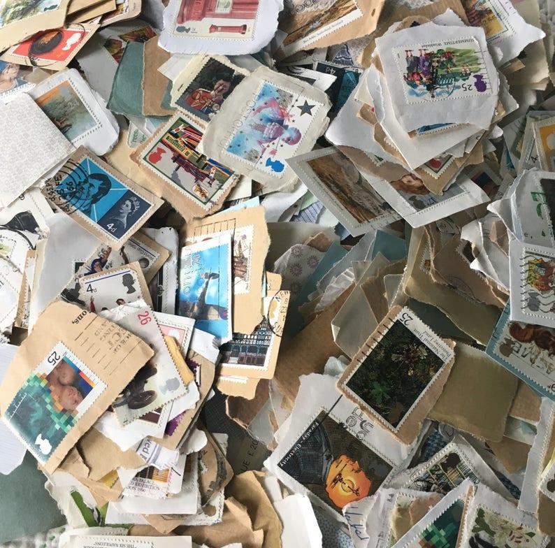 Worldwide Vintage Stamps Mixed Lot Collecting Ephemera image 0