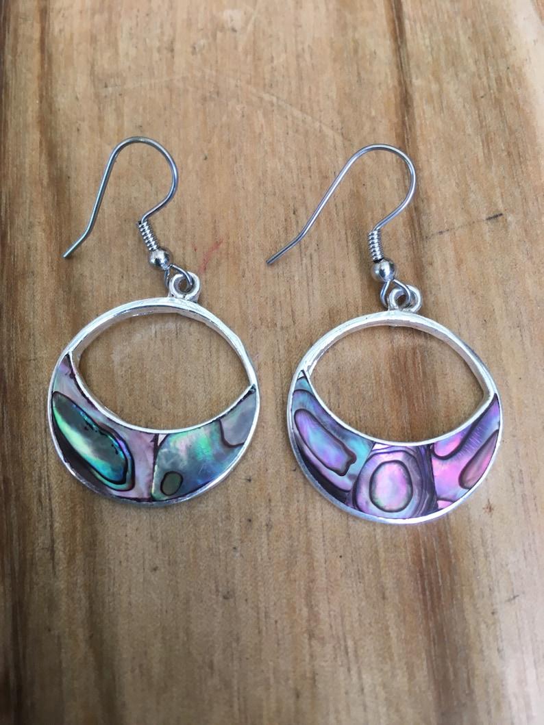 Abalone crecsent moon earrings