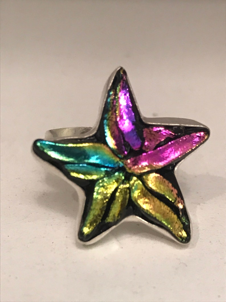 Rainbow Silver Star Ring