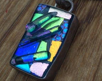 Funky Blue Dichric Glass Silver Pendant