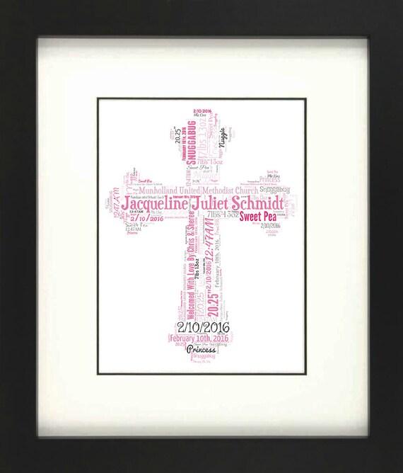 Palabra de impresión de Cruz Personalizado Arte-Iglesia Sagrada Comunión Bautizo del bebé niño