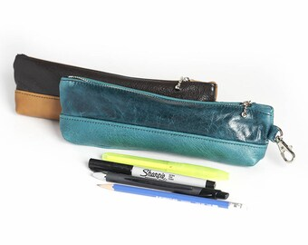 Leather Epi Pen Holder Hand Made Pencil Case Cosmetic Case Make Up Bag Bags and Wallets Zippered Pouch Coin Purse Cosmetic Organizer