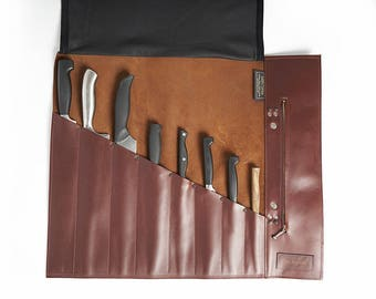 Personalized Leather Chef Knife Roll Chef Roll Leather Knife Roll Tool Roll Chefs Gift For Him Knife Case Knife Bag Utility Roll