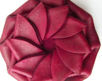 Red Leather Change Purse - Coin, For Him, For Her, Geometric Wallet, Ready to ship