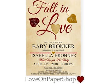 """Fall in Love Baby Shower Invitation Fall Baby Shower * Beautiful 5""""x7"""" * Editable Text * Template * Instant Download *"""