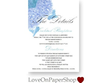 "DIY Printable Details Card * Beautiful 5""x7"" Blue Hydrangea * Editable Any Color * Template * Microsoft.Doc * Instant Download *"