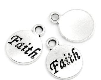 "5 Antiqued Silver ""Faith""  Charms"