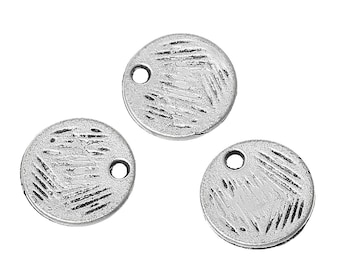 10 Antiqued Silver Textured Disc Drops