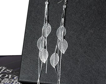 Long Leaf Tassel Rhinestone Earrings - Silver Plated
