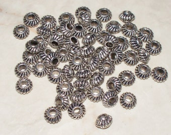 Tibetan Silver Pot Belly Round Scalloped Spacer Beads - 6x4MM