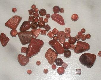 Brown Goldstone Gemstone Mix