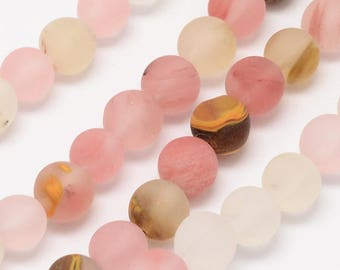 """Frosted Tigerskin Glass Bead Strands - 14"""""""