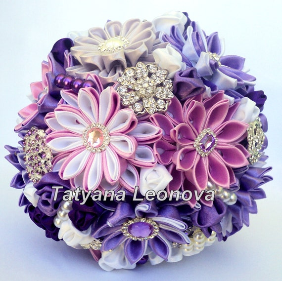 Hochzeitsstrauss Brosche Bouquet Violett Lila Weiss Silber Etsy