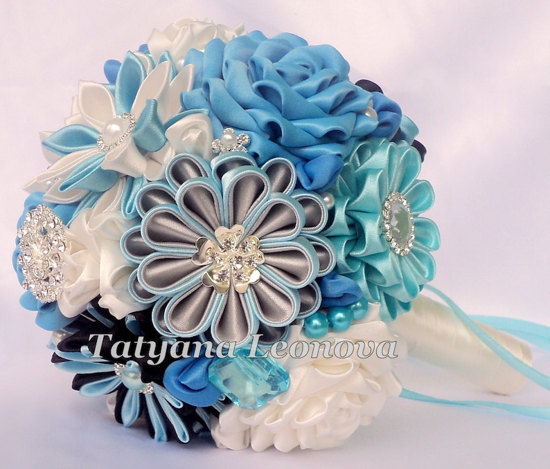 Blue Brooch bouquet Wedding Bouquet Black Ivory Silver 5 inches