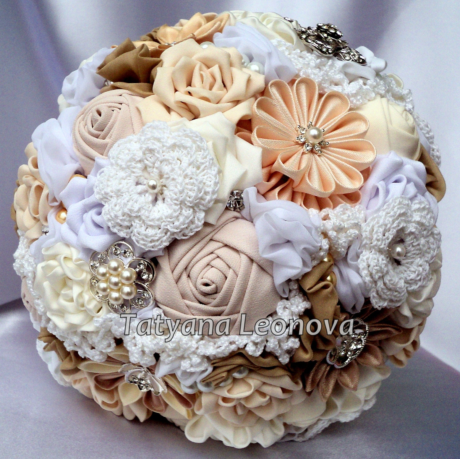 Fabric Flower Bouquet Vintage Style Wedding Bouquet Brooch