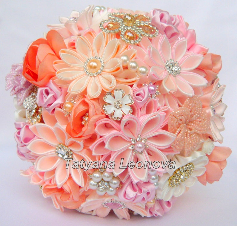 Ivory and Peach brooch bouquet Pink Wedding Bouquet
