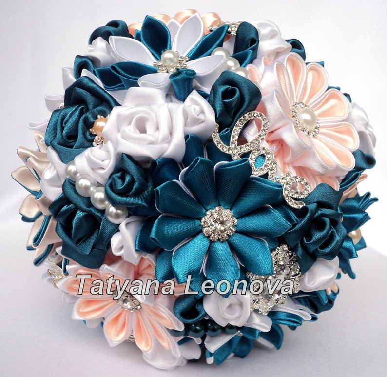 5 inches white and peach Brooch bouquet dark turquoise Wedding Bouquet