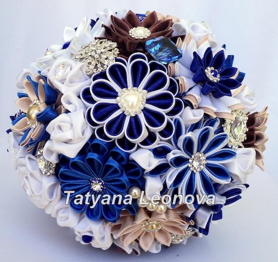 Stoff Hochzeitsstrauss Brosche Blumenstrauss Blau Weiss Etsy