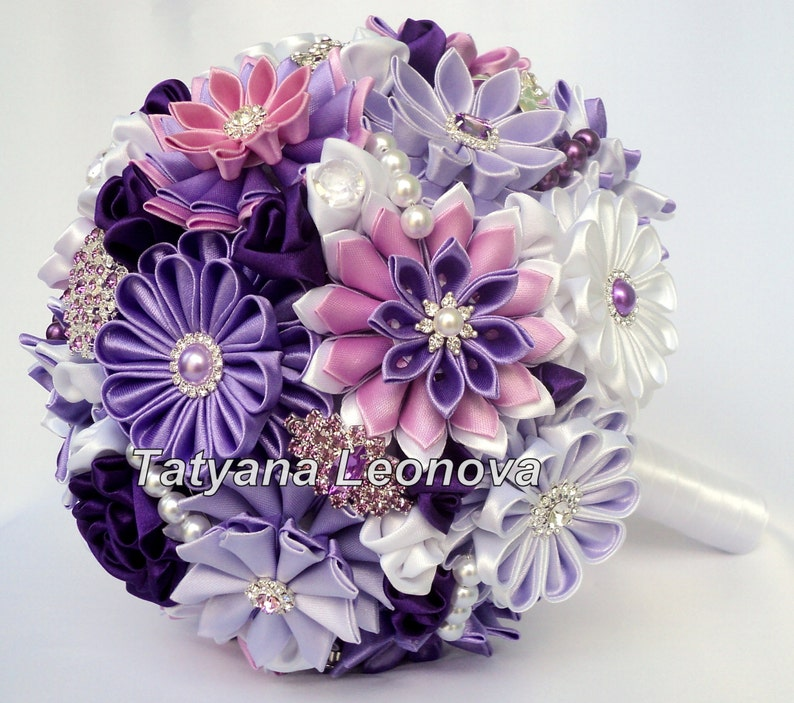 9 inches white Brooch bouquet purple Wedding Bouquet silver lilac