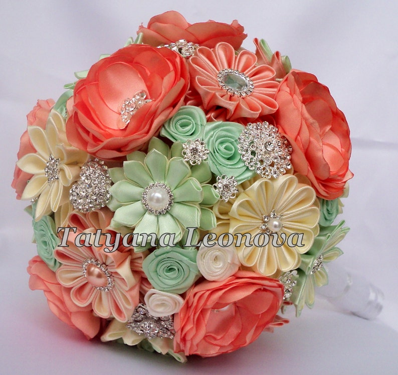 Brooch bouquet Peach and mint Green Cream and White Fabric Wedding Bouquet Peach