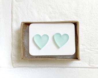 Acrylic Heart Earrings, Heart Stud Earrings, Earrings for Little Girls, Glitter Heart Earrings