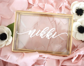 Personalized glass Box Jewelry Box with Name Trinket Box Bridesmaid Gift / Personalized Gift / Maid of Honor / jewelry storage/ Birthday