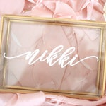 Personalized Glass Jewelry Box - Script Custom Name - Rose Gold - Gifts for Her - Bridal Party Gift - Bridesmaids Gift Personalized Name 5x7