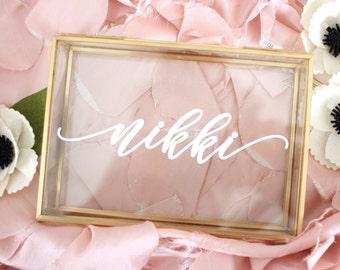 Glass Box / Personalized Jewelry Box / Bridesmaid Gift / Personalized Gift / Maid of Honor jewelry storage/ Birthd