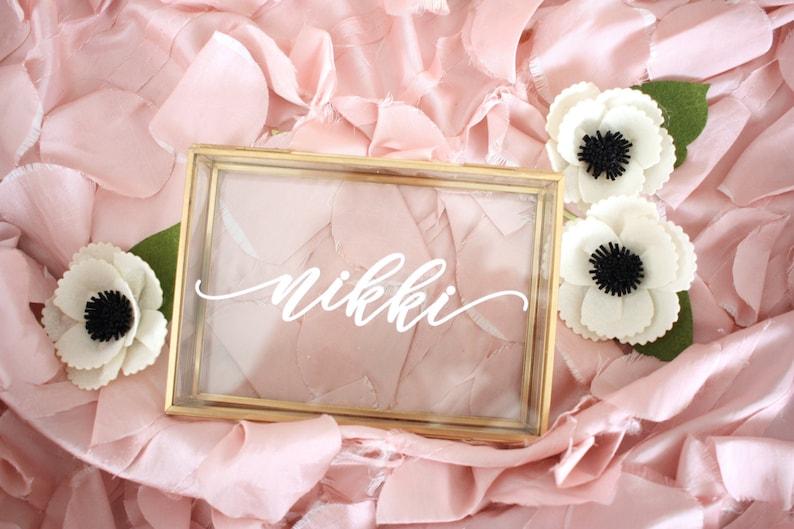 Personalized Glass Jewelry Box  Script Custom Name  Rose Gold