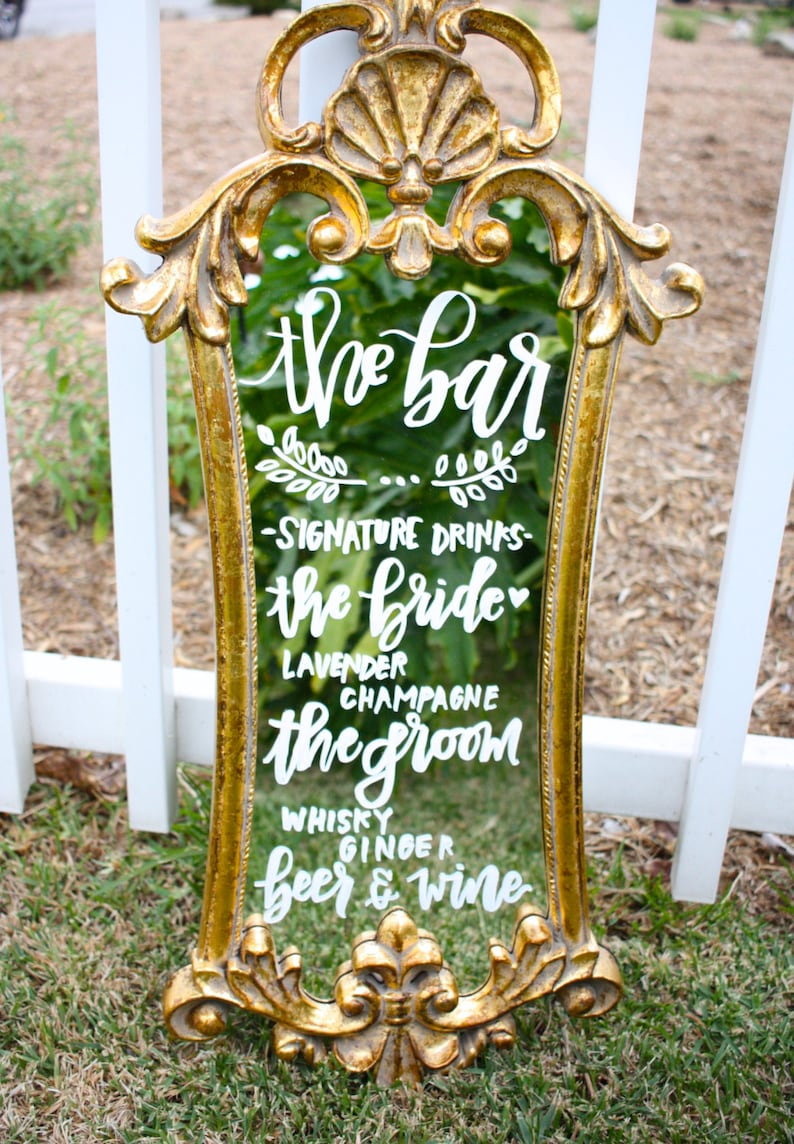 Wedding mirror menu / handlettered mirror / dessert menu / image 0