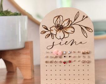 Earring Holder For girl, teen girl gift, Wood Earring Display with Engraved Name, Earring Holder, Jewelry Organization