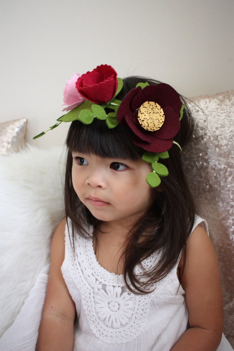 Felt Flower Crown / Flower Girl Crown / Peach Flower Crown / image 0