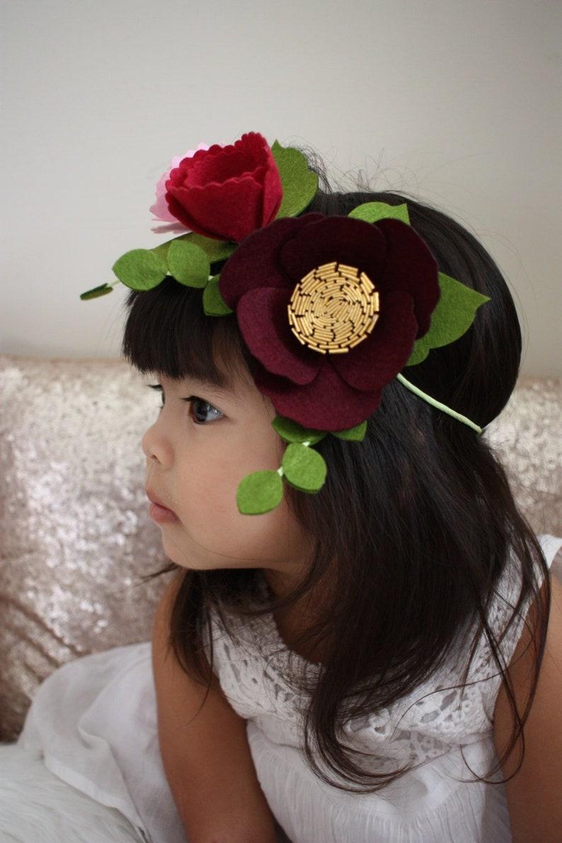 Felt Flower Crown / Flower Girl Crown / Peach Flower Crown / image 0